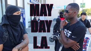 May Day Protests LA. Pro-Trump Supporters Clash With Protesters and ANTIFA