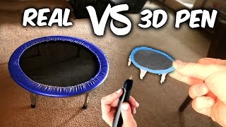 3D PEN Trampoline VS REAL Trampoline! ( Insane 3D Printing Pen Creations )