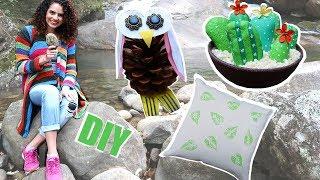DESAFIO DIY com materiais da natureza! Cactos de pedra, coruja de pinha, folha carimbo...