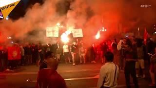 Makedonya'da protestoculara göz yaşartıcı gaz ve şok bombalarıyla müdahale