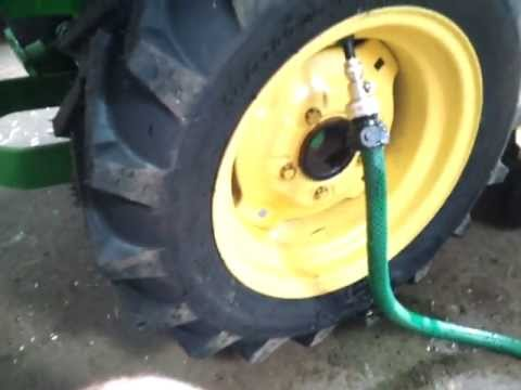 How To Fill Garden Tractor Tires With Washer Fluid Youtube