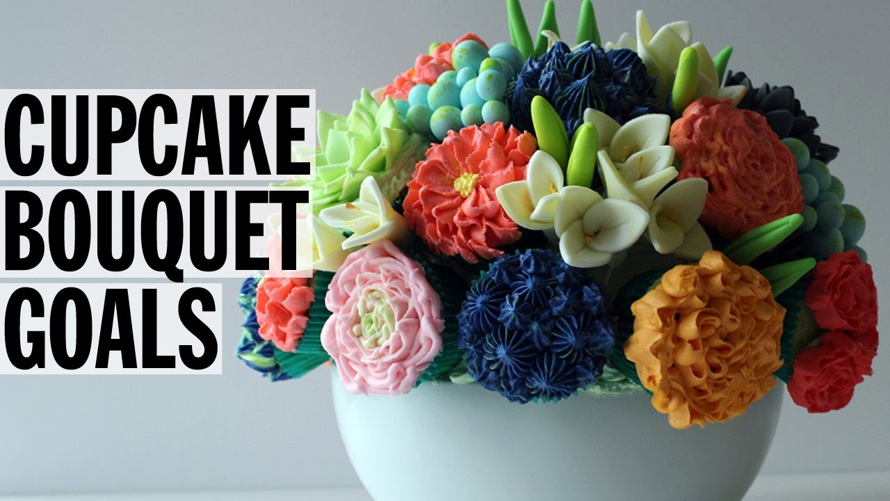 How to Make an Edible Cupcake Flower Bouquet | Food Network - YouTube