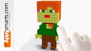 Alex Minifigure (3D Pixel Art Minecraft Style) - DIY crafts tutorial with Qbics Paint