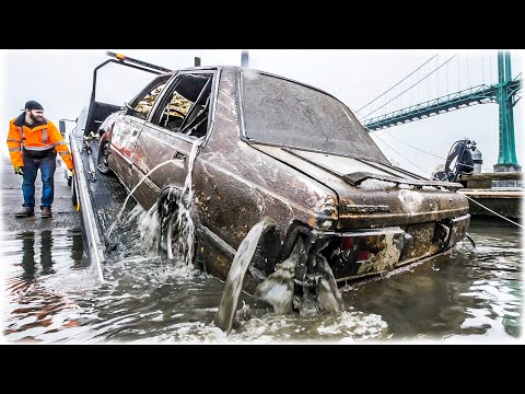 CAR FOUND SHOT W/BULLET HOLES Dumped 30' Underwater In River!
