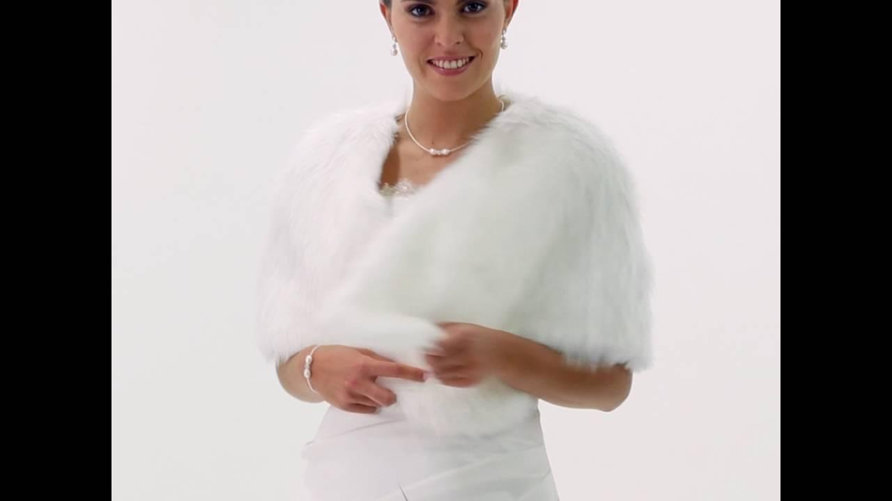 Bolero mariage etole en fausse fourrure ivoire Adelaide - YouTube fd624d565db