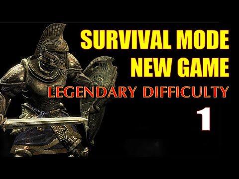Skyrim SURVIVAL MODE Walkthrough Legendary Part 1 - One Gun, Zero Start Challenge Run (1H Build)