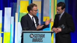 Tom McCarthy and Josh Singer winning the Best Screenplay 2015 Gotham Award for SPOTLIGHT