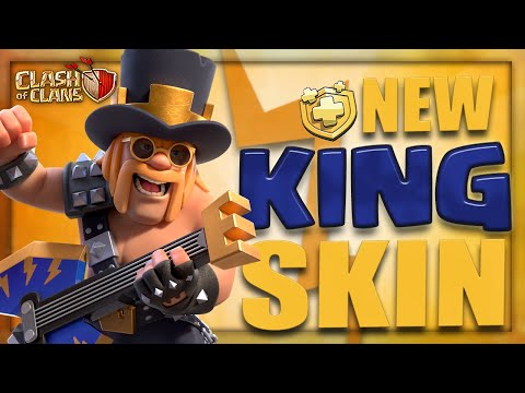 Rock n Roll PARTY KING! Preview the NEW August Gold Pass Hero Skin for Clash of Clans!!!