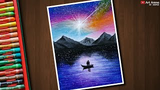 Oil Pastel Step by Step Nightscape Drawing -  Couple on a Boat