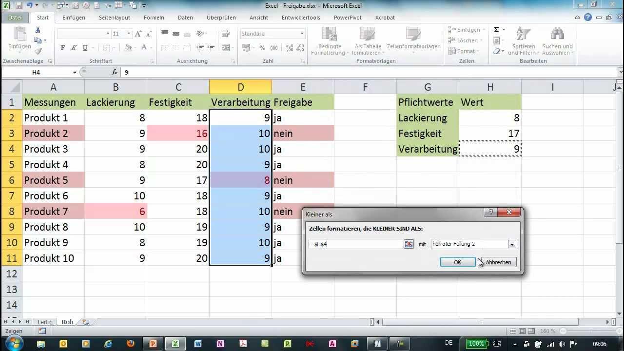 Excel - Bedingte Formatierung - Vergleich mit Referenzwerten - YouTube