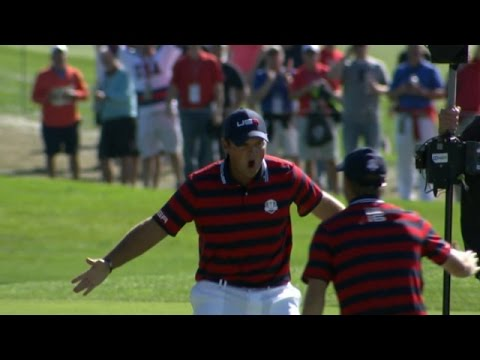 Patrick Reed's euphoric eagle-hole out at the Ryder Cup - YouTube