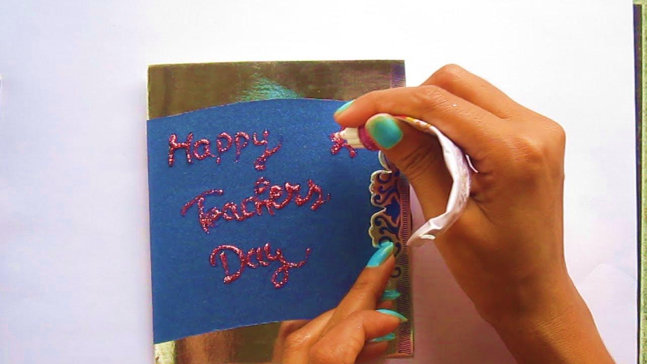 diy  how to make easy  simple teacher day card  school