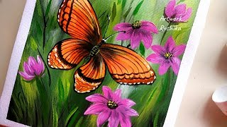 Painting a Butterfly in flower garden 🌼 | Acrylic painting technique for beginners