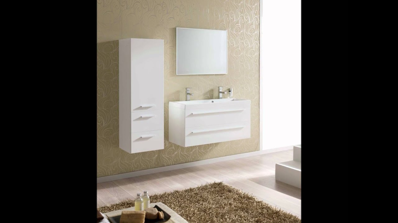 Kwadro Wall Mounted Bathroom Cabinet And Basin   YouTube
