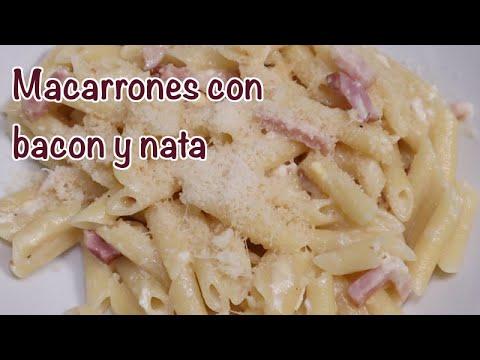MACARRONES CON BACON Y NATA EN MONSIEUR CUISINE, MAMBO Y THERMOMIX. MACARRONES CARBONARA CON NATA