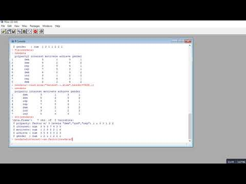 R demo: Using the 'as.numeric' and 'as.factor' functions with data frames