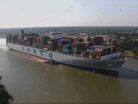 Raw: US Welcomes Largest Ship to See East Coast