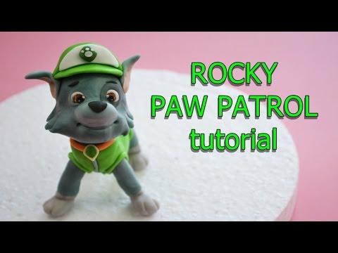 how to make rocky paw patrol cake topper fondant - tutorial cane in pasta di zucchero per torta