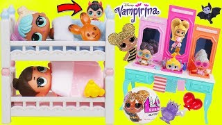 LOL Surprise Dolls Lil Sisters Sleep in Barbie Bunk beds