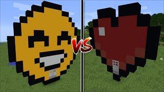 Minecraft HAPPY EMOJI HOUSE VS HEART HOUSE MOD / HOUSE BUILD BATTLE !! Minecraft