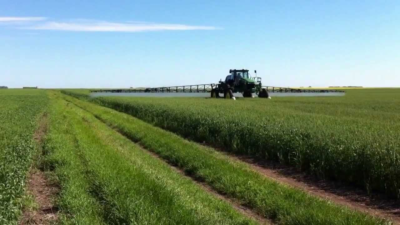 John Deere Sprayer >> Spraying Wheat - YouTube