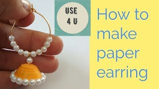 how to make earrings at home | how to make quilling earrings | Tutorial-4