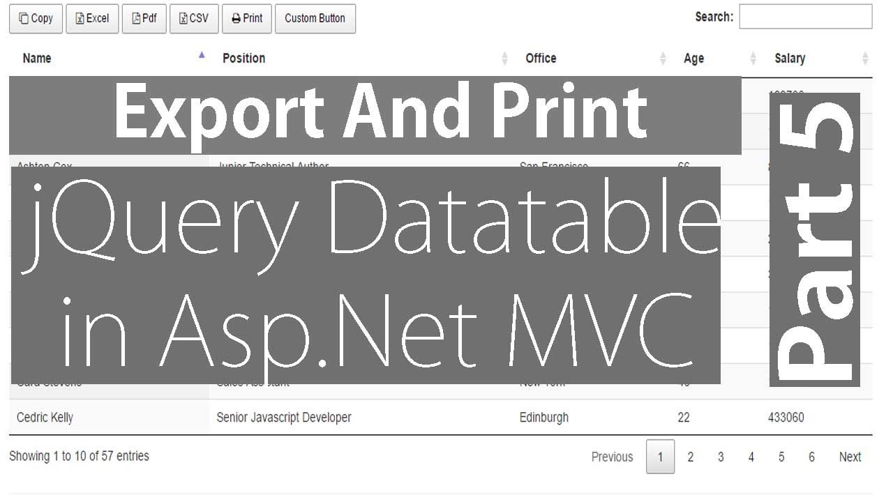 Print And Export in jQuery Datatable - Part 5