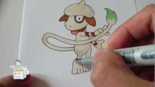 How to draw Pokemon: No.235 Smeargle ドーブル