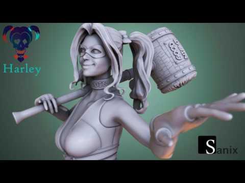 Harley Quinn - 3D Printable Model - YouTube