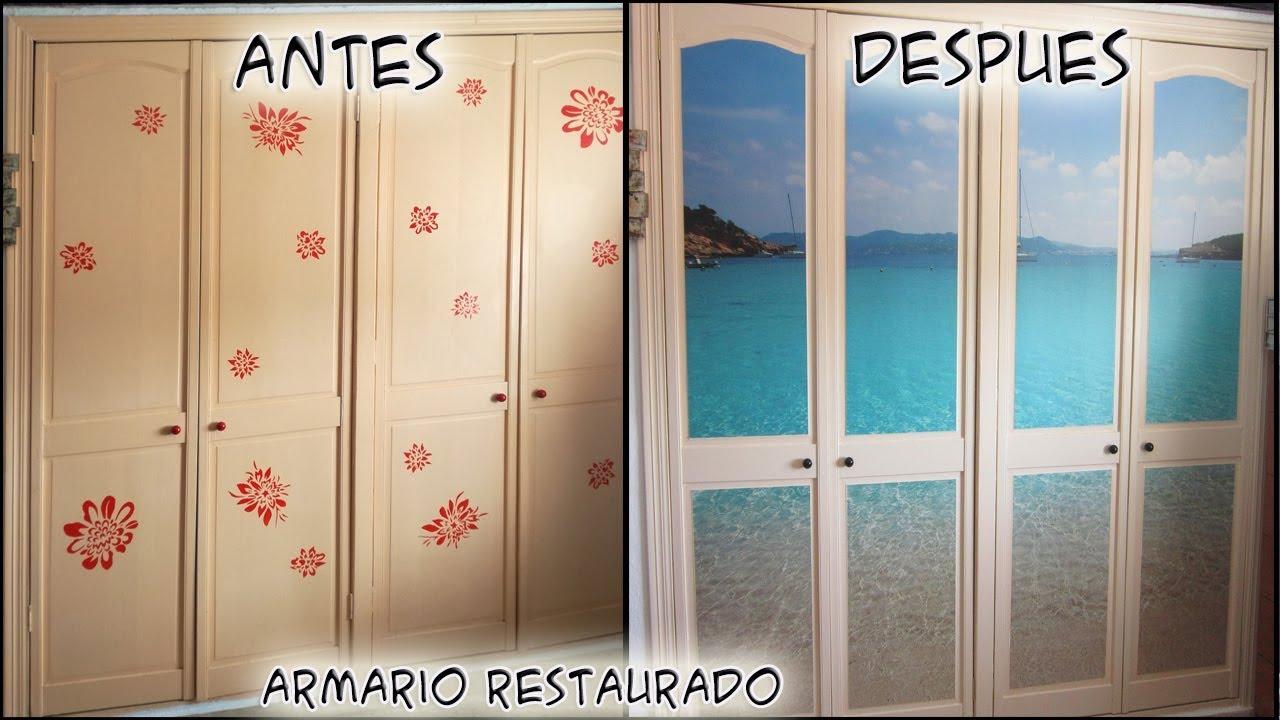 Como restaurar un armario de madera con vinilos decorados - Como forrar un armario con tela ...