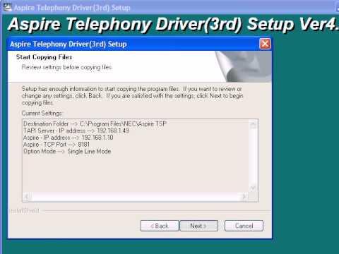 TAPI Telephony Driver Installation