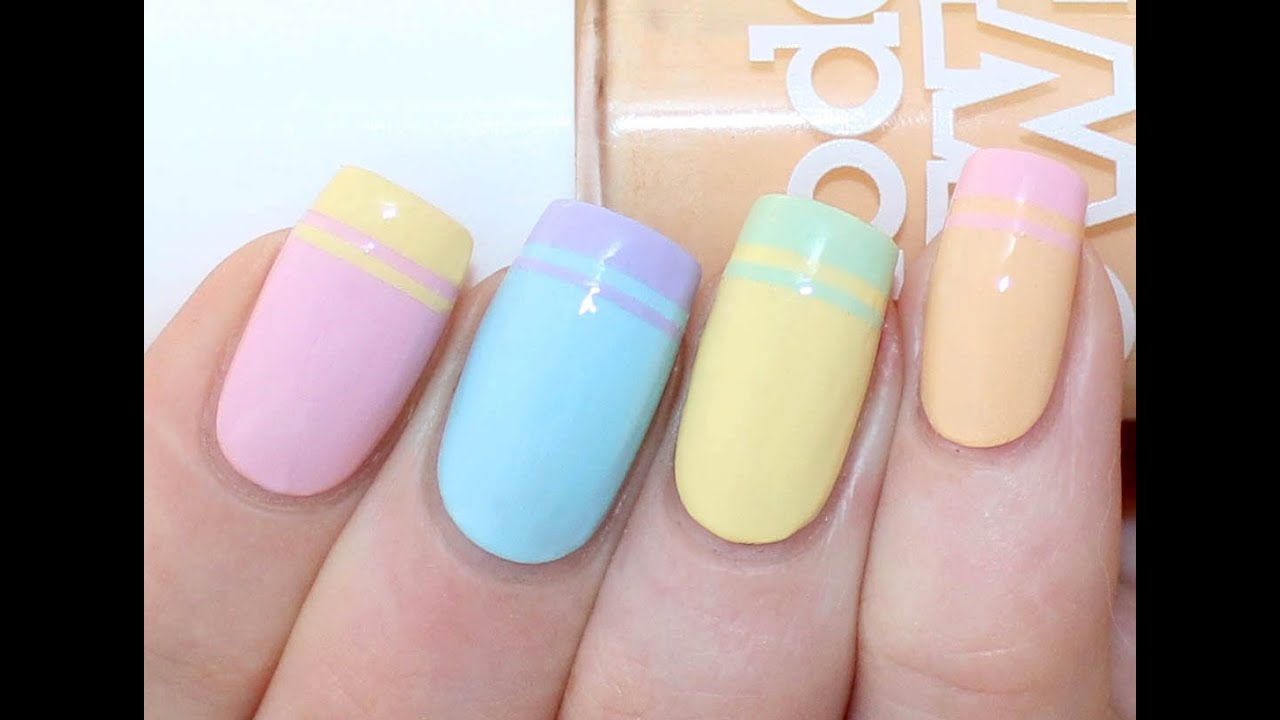 Double French Tip Nail Art Tutorial - YouTube