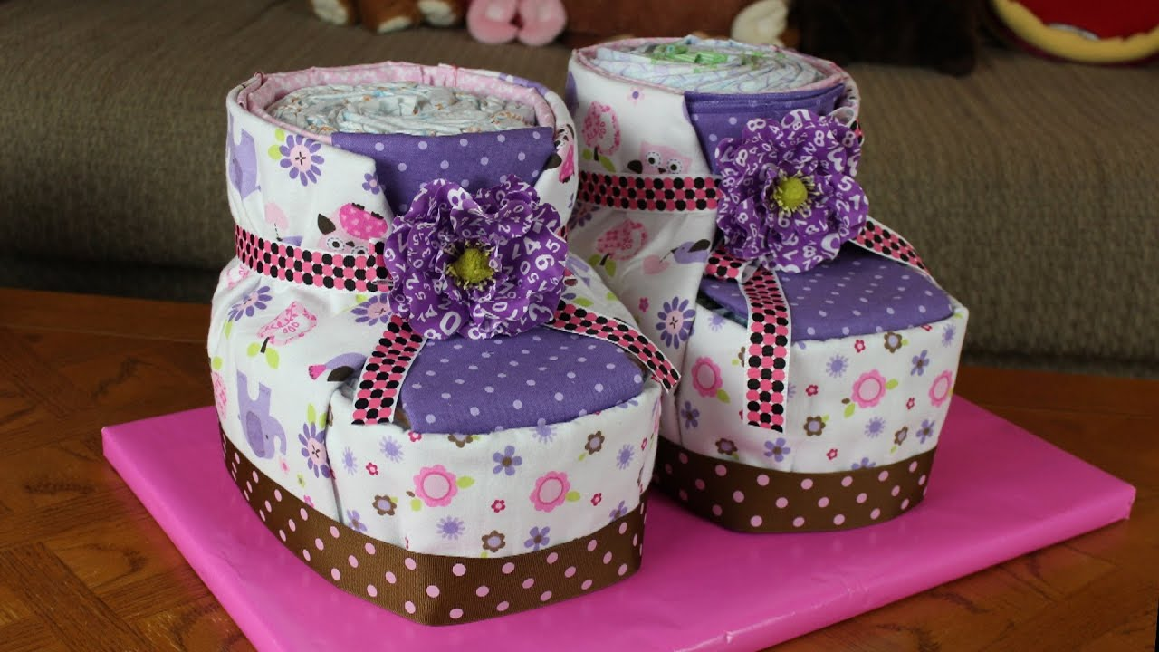 Diaper Cake Baby Booties How To Make Youtube - Infant Newborn Diaper