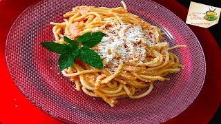 Receta de Espagueti rojo con jamón y crema a los niños les encanta