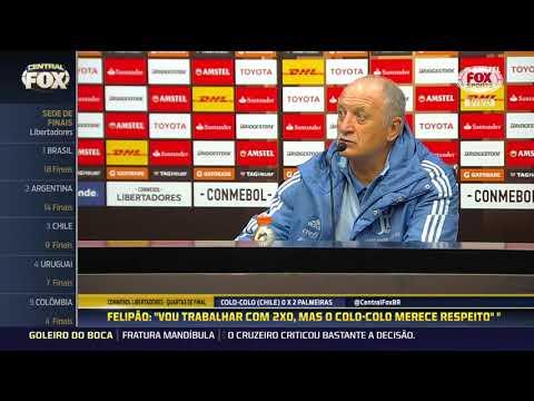 Confira a entrevista coletiva de Felipão e Edu Dracena após vitória do Palmeiras na Libertadores