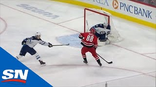 Martin Necas Dances Around Connor Hellebuyck For Opening Goal