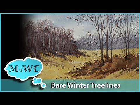 Painting a Bare Treeline in Watercolor