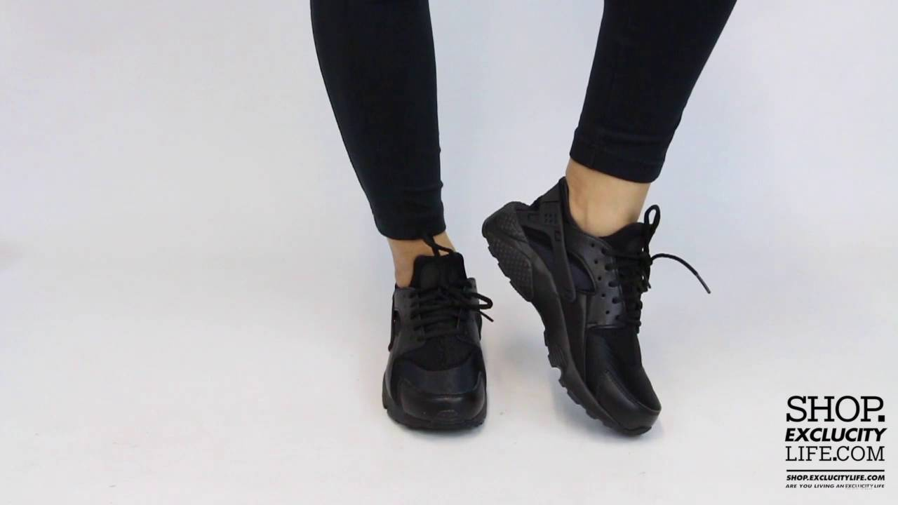 d12d32d2a5d77 Women s Nike Huarache Triple Black On feet Video at Exclucity - YouTube