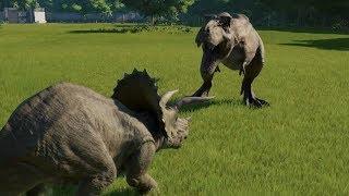 Triceratops(Modified) VS T-Rex Jurassic World Evolution 100% Genome...