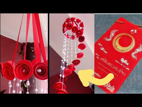 Paper rose wind chime | wall hanging | how to make | DIY | easy and beautiful || best out of waste