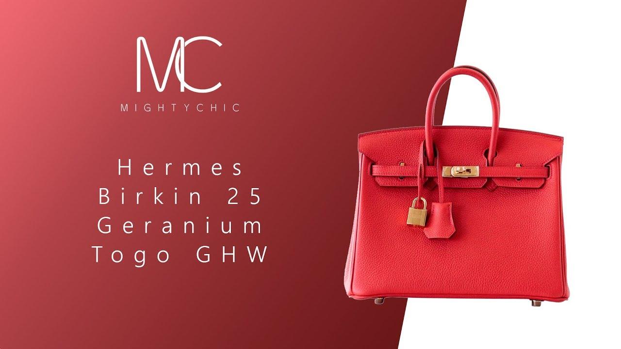 MIGHTYCHIC • Hermes Birkin 25 Geranium Togo GHW - YouTube e04e1e3ad65fb