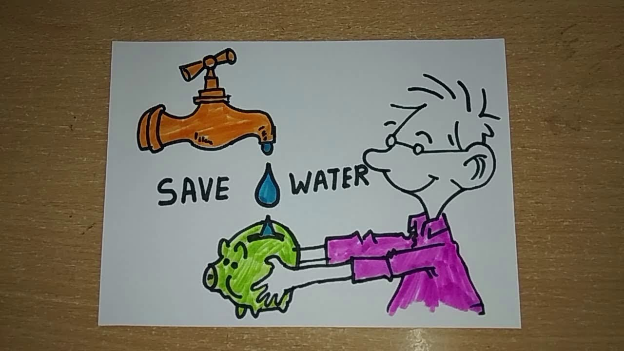 How to draw a save water drawing for kids easy step by step drawing for kids
