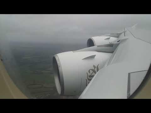 Emirates A380 - VERY Turbulent Gatwick Landing