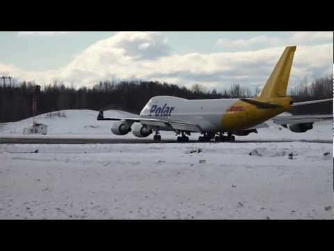 Polar Air Cargo Boeing 747-400 take off, Anchorage Airport, Alaska