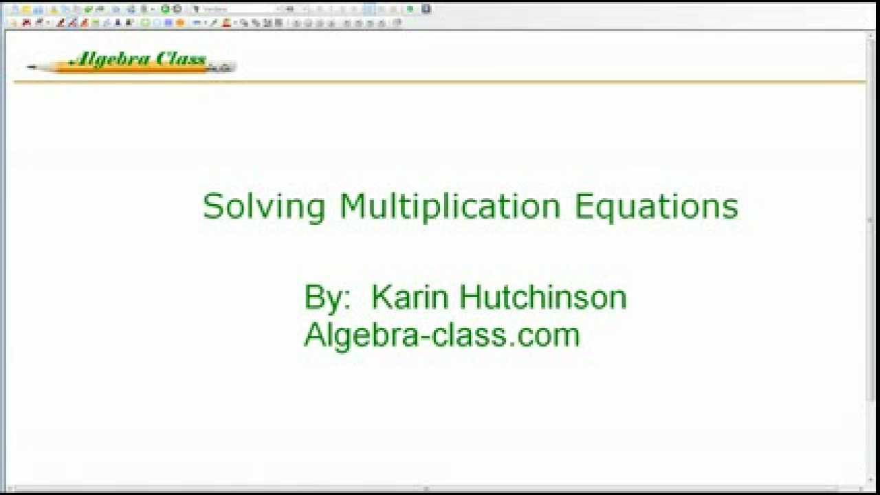 Solving OneStep Equations Involving Multiplication – Solving Multiplication and Division Equations Worksheets