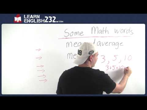 Math Vocabulary Words and Definitions - Lesson 26 - Average