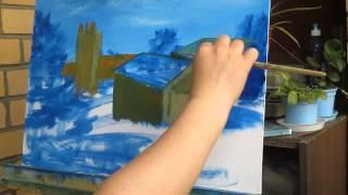 сам себе художник-рисуем (пейзаж на фоне старой башни)2