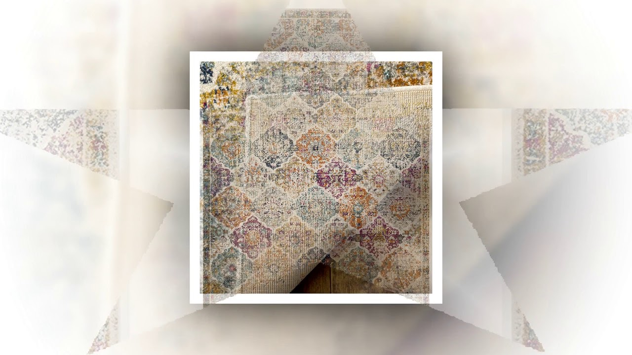 80e9350b053 Safavieh Madison Collection MAD611B Cream and Multicolored Bohemian Chic  Distressed Area Rug