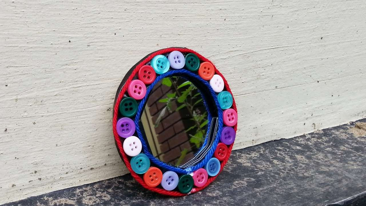 How to make a cute button mirror frame diy home tutorial how to make a cute button mirror frame diy home tutorial guidecentral jeuxipadfo Choice Image