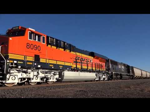 BNSF GE ES44C4 8090 & NS EMD SD70 2536 in Castle Rock, CO March 2014